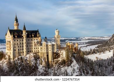 Neauschwanstein Castle from Marie bridge in winter. Germany, Bavaria.
