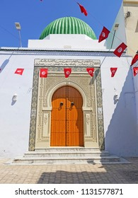 NEBEUL, TUNISIA - JUNE 21, 2018:  A domed building in the centre of Nabeul which is a coastal town in north-eastern Tunisia.