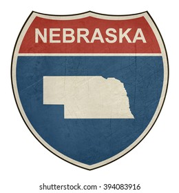 Nebraska American interstate highway road shield isolated on a white background.