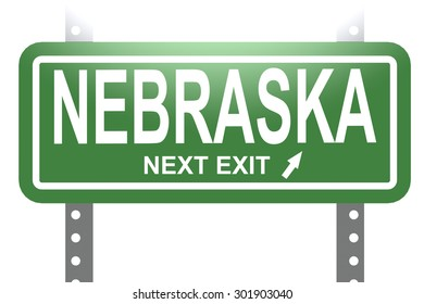 Nebraska green sign board isolated image with hi-res rendered artwork that could be used for any graphic design.