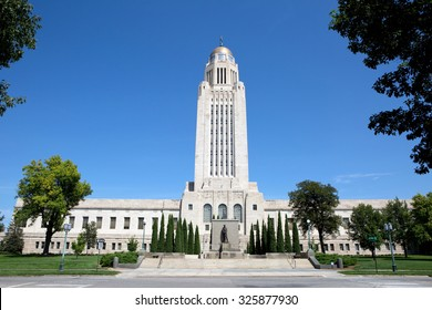 Nebraska State Capitol building located in Lincoln, Nebraska, USA.