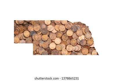 Nebraska State Map and Money Concept,   Piles of Coins, Pennies