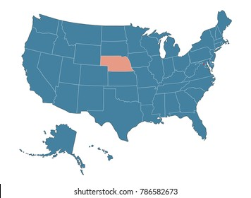 Nebraska state - Map of USA