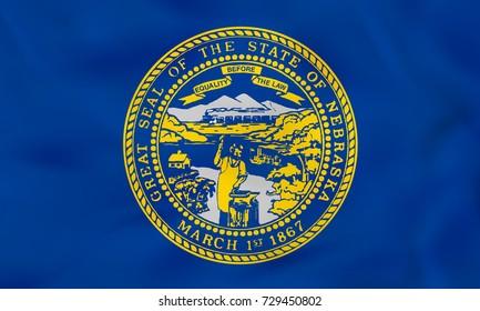 Nebraska waving flag. Nebraska state flag background texture. Raster copy.