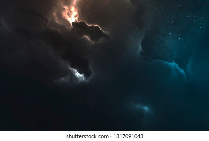 Nebula in deep space. Gas and dust clouds. Elements of this image furnished by NASA