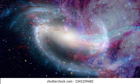 Nebula and galaxies in dark space. Open cluster. Elements of this image furnished by NASA.