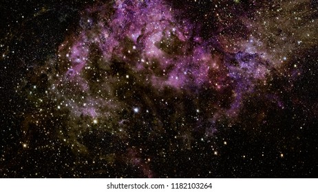 Nebula and galaxies in deep space. Dark background. Elements of this image furnished by NASA.