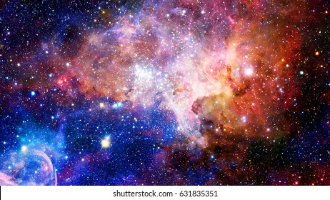 Nebula and galaxies in deep space. Elements of this image furnished by NASA.