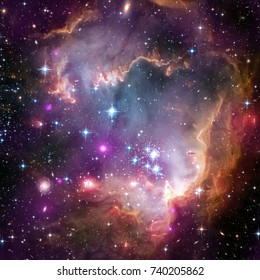 Nebula and galaxies in space. Elements of this image furnished by NASA.