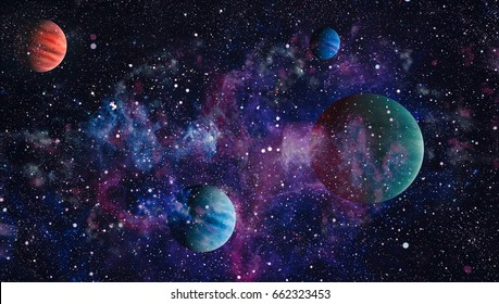 Nebula and galaxies in space.Planet and Galaxy - Elements of this Image Furnished by NASA ,