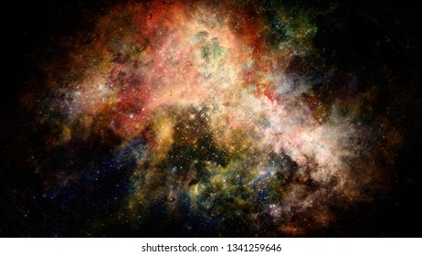 Nebula and galaxy in space. Infinity sky. Elements of this image furnished by NASA.
