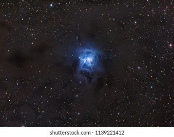 Nebula Iris NGC7023 with Galaxy ,Open Cluster,Globular Cluster, stars and space dust in the universe and Milky way taken by dedicated astrophotography camera on telescope.