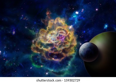 Nebula or molecular cloud, like an explosion and a planet