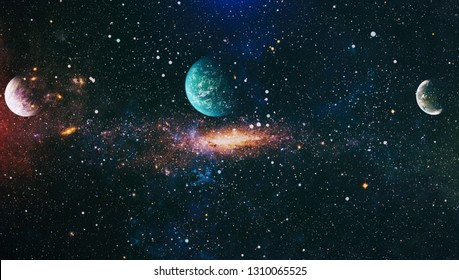 Nebula night starry sky in rainbow colors. Multicolor outer space. deep space many light years far from planet Earth. Elements of this image furnished by NASA. - Image