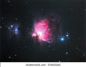 Nebula Orion M42 with Galaxy,Open Cluster,Globular Cluster, stars and space dust in the universe long expose.