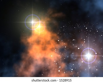 Nebula in space with two close stars