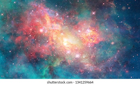 Nebula and spiral galaxies in space. Abstract nature. Elements of this image furnished by NASA.