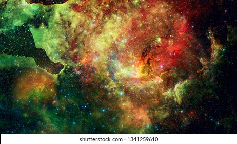 Nebula and stars in outer space. Astronomy background. Elements of this image furnished by NASA.