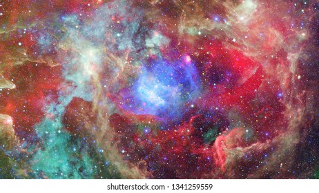 Nebula and stars in outer space. Dark nebula. Elements of this image furnished by NASA.