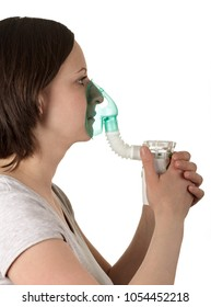 Nebulizer for inhalation in woman hands isolated on white