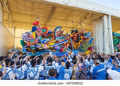 The Nebuta float and the crew prepare for parade in Aomori Nebuta Matsuri, Japanese summer festival at Aomori city, Japan on August 5, 2015.