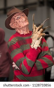 NEC,  BIRMINGHAM, UK - JUNE 2, 2018. A cosplayer dressed as Freddy Krueger at The Collectormania 25 comic con event in the NEC, Birmingham, UK