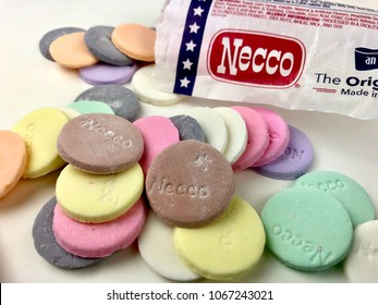 Necco wafers on a white background