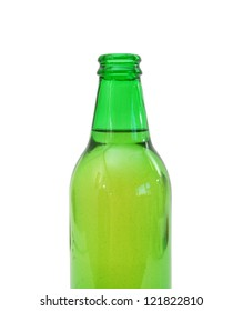 Neck of the beer bottle, isolated on white