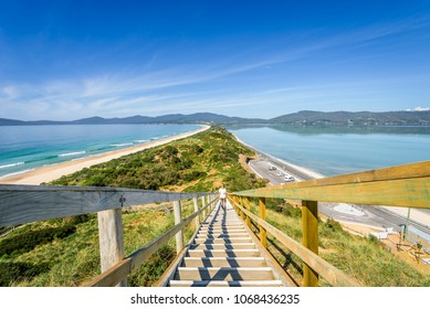 The Neck, Bruny Island, Tasmania, Australia - 11-18-2017: Amazing wooden view point over small green island sandy beach shore with turquoise blue water of southern ocean on a warm sunny blue sky day