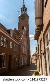 Neck Gables or Historic Dutch Houses. Typical Dutch architecture from the golden age. Old houses in a Dutch city with beautifully decorated facades