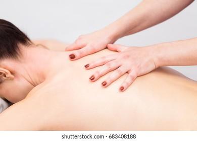 Neck massage in a beauty salon