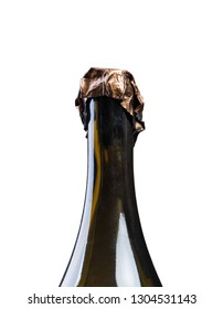 Neck of opened champagne bottle isolated on white