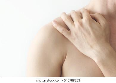 Neck pain, shoulder pain, health concept, white background,