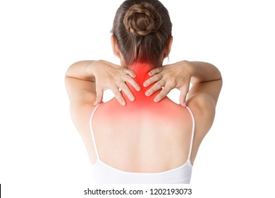 Neck pain, woman with backache isolated on white background, studio shot