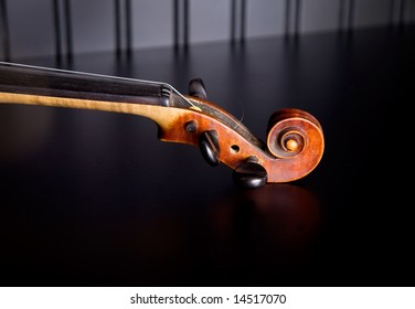 Neck and scroll of an old violin