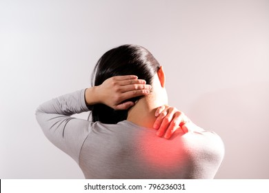 neck shoulder injury painful women suffer from working healthcare and medicine recovery concept