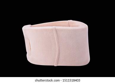 Neck support brace on black background , soft cervical collar.