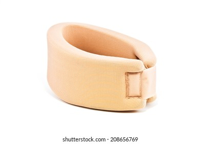 Neck support brace on white background , soft cervical collar