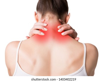 Neck, trapezoid and shoulders pain. Muscle spasm. Female back in light top. Woman put her fingers on sore spots, red markers, isolated on white. Injury, medicine, massage, spine, sedentary lifestyle