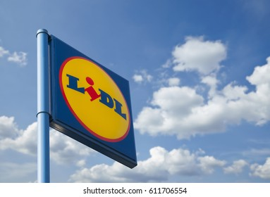 NECKARSULM, GERMANY, March 3rd, 2017 - LIDL Supermarket Chain Sign - LIDL is a German global discount supermarket chain, based in Neckarsulm, Germany, that operates over 10,000 stores across Europe.