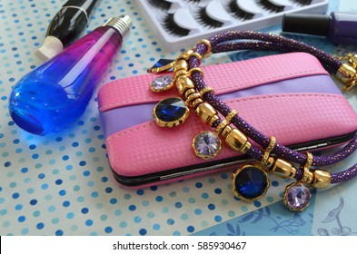 Necklace and cosmetics