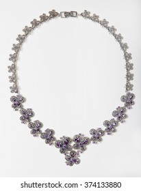 necklace with gems and value stones isolated