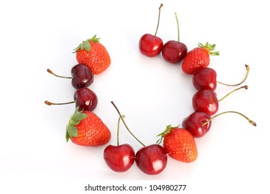 necklace made with cherries and strawberries