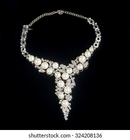 necklace on a black background in close up