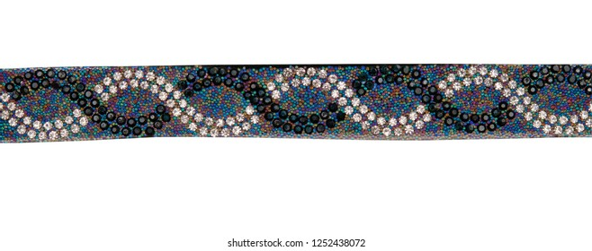 Necklace on a white background. Necklace with blue, red, yellow, green, purple crystals. Bijouterie.