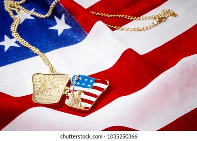 Necklace with statue of liberty on the american flag background