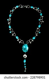 Necklace with Turquoise Stones, Pearls and Silver, on Black Background