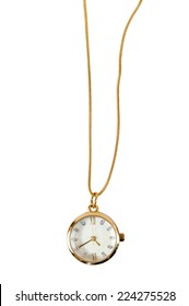Necklace watch isolated on white background with clipping path