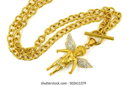 Necklace for women - Golden Angel - Stainless Steel - White background