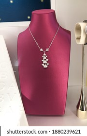 Necklaces on the shelf of jewerely store